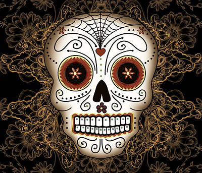 Los Drawing - Vintage Sugar Skull by Tammy Wetzel