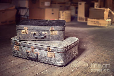 Attic Wall Art - Photograph - Vintage Suitcase by Delphimages Photo Creations