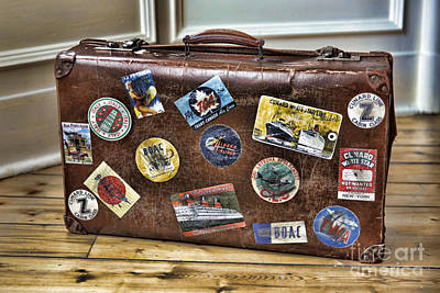 Vintage Suitcase With Labels Art Print