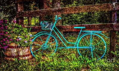 Photograph - Vintage Summertime Blue Bike by Peggy Franz