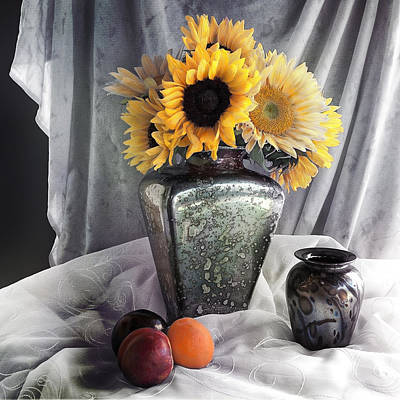Photograph - Vintage Sunflowers Still Life by Sandra Selle Rodriguez