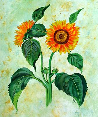 Painting - Vintage Sunflowers by Tracey Harrington-Simpson