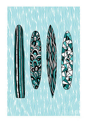 Cyan Digital Art - Vintage Surfboards Part1 by Susan Claire