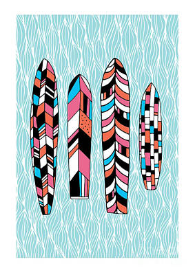 Ocean Digital Art - Vintage Surfboards Part2 by Susan Claire