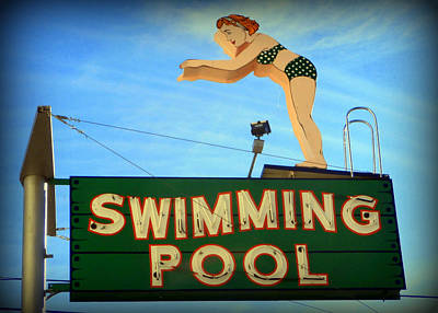 Polkadots Photograph - Vintage Swimming Lady Hotel Sign by Karyn Robinson