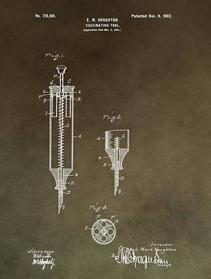 Mixed Media - Vintage Syringe Patent by Dan Sproul