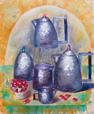 Silver Tea Pot Painting - Vintage Tea by Marina Wirtz