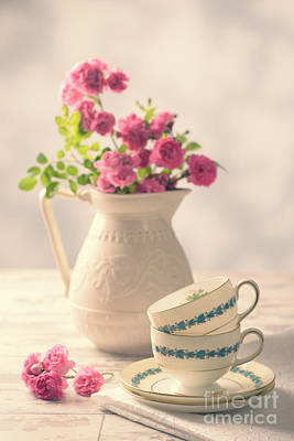 Antique Roses Vase Wall Art - Photograph - Vintage Teacups With Roses by Amanda Elwell