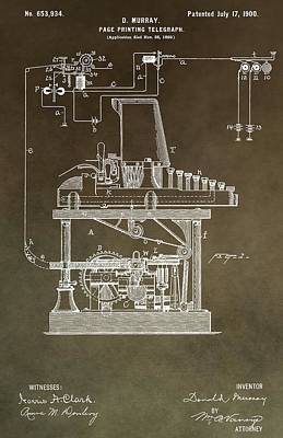 Code Mixed Media - Vintage Telegraph Patent by Dan Sproul