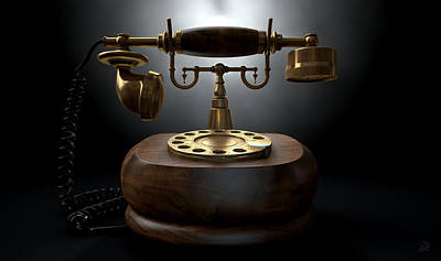 Vintage Telephone Dark Isolated Print by Allan Swart