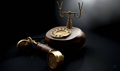 Aged Wood Digital Art - Vintage Telephone Dark Off The Hook by Allan Swart
