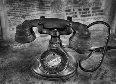 Photograph - Vintage Telephone In Black And White  by Saija  Lehtonen