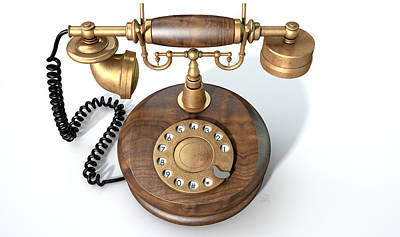 Vintage Telephone Isolated Print by Allan Swart