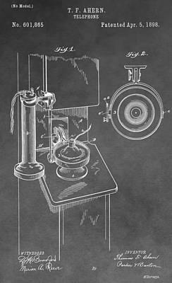 Talking Digital Art - Vintage Telephone Patent by Dan Sproul