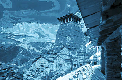 Origin Mixed Media - Vintage Temple At The Origin Of Ganga On Of Of The Top Peaks Of Himalaya Mountain Ranges In India   by Navin Joshi