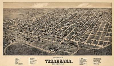 Vintage Texarkana Map Art Print by Dan Sproul
