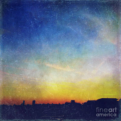 Photograph - Vintage Textured City Skyline Sunset by Beverly Claire Kaiya