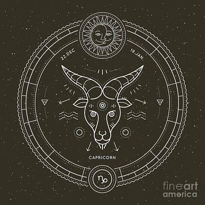 Decorative Digital Art - Vintage Thin Line Capricorn Zodiac Sign by Painterr