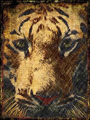 Fine Art Cat Digital Art - Vintage Tiger Confrontation by Georgiana Romanovna
