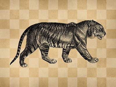 Engraving Digital Art - The Tiger by Flo Karp