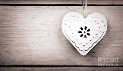 Vintage Tin Heart Print by Jane Rix