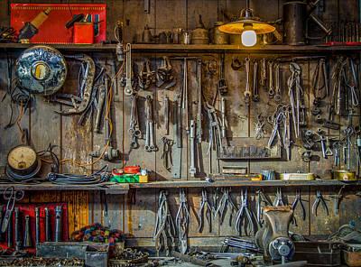 Vintage Tools Workshop Print by Mr Doomits
