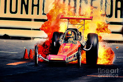 Vintage Top Fuel Dragster Fire Burnout-wild Bill Carter Original