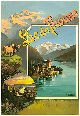 1890s Drawing - Vintage Tourism Poster 1890 by Mountain Dreams