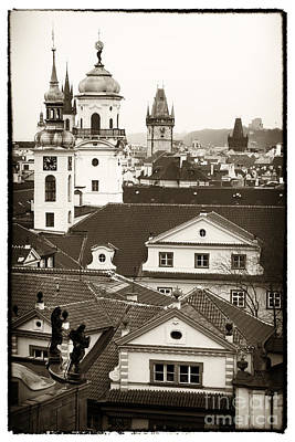 Vintage Towers In Prague Print by John Rizzuto
