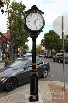 Vintage Town Clock In Historic Railroad Square District Santa Rosa California 5d25878 Art Print by Wingsdomain Art and Photography