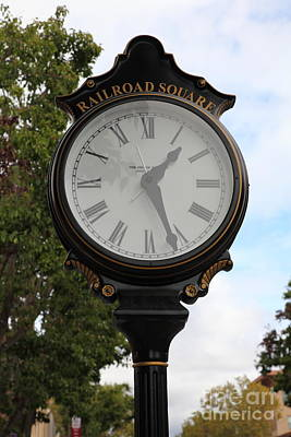 Vintage Town Clock In Historic Railroad Square District Santa Rosa California 5d25879 Art Print by Wingsdomain Art and Photography