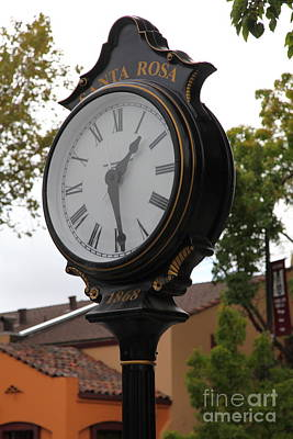 Vintage Town Clock In Historic Railroad Square District Santa Rosa California 5d25883 Art Print by Wingsdomain Art and Photography