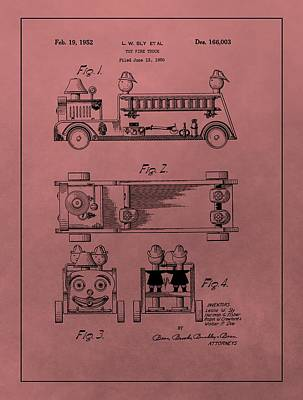 Mixed Media - Vintage Toy Fire Truck Patent by Dan Sproul
