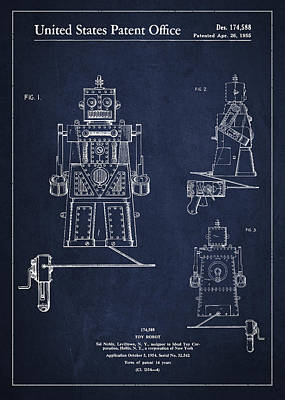 Android Digital Art - Vintage Toy Robot Patent Drawing From 1955 by Aged Pixel
