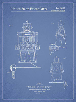 Android Digital Art - Vintage Toy Robot Patent Drawing From 1955 - Light Blue by Aged Pixel