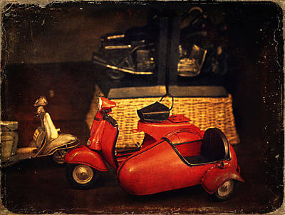 Black Kid Playing Photograph - Vintage Toys - Red Motorcycle by Maria Angelica Maira