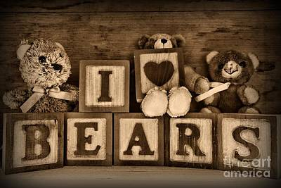Best Friend Photograph - Vintage Toys - I Love Bears In Black And White by Paul Ward