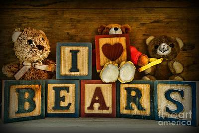 Best Friend Photograph - Vintage Toys - I Love Bears by Paul Ward
