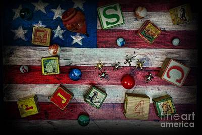 Marble Blocks Photograph - Vintage Toys On The American Flag by Paul Ward