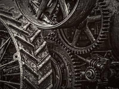Gears  - Black And White Art Print by F Leblanc