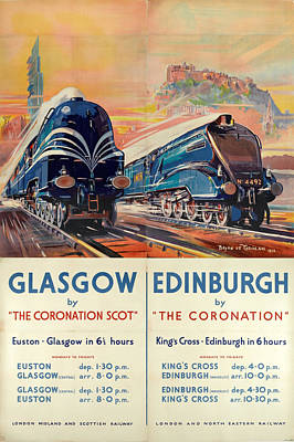 Vintage Advert Digital Art - Vintage Train Travel - Glasgow And Edinburgh by Georgia Fowler