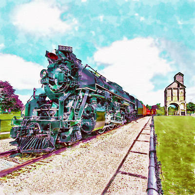 Teal Mixed Media - Vintage Train Watercolor by Marian Voicu