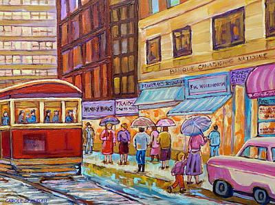 Vintage Tram Car-montreal Downtown Scene-classic Chevy Car Art Print by Carole Spandau