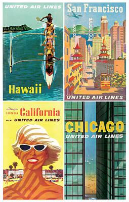 Vintage Travel - United Airlines Art Print