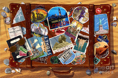 Pyramids Digital Art - Vintage Travel Case by Garry Walton