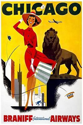 American Airways Digital Art - Vintage Travel Poster - Chicago by Georgia Fowler