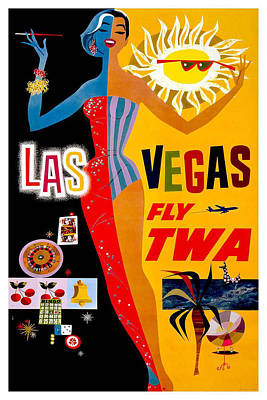 Vintage Advert Digital Art - Vintage Travel Poster - Las Vegas by Georgia Fowler