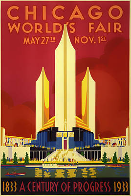 Lithograph Mixed Media - Vintage Travel Poster - Chicago World's Fair 1933 by Mountain Dreams