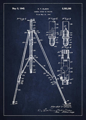 Vintage Camera Wall Art - Digital Art - Vintage Tripod Patent Drawing From 1941 by Aged Pixel