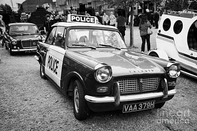Vintage Triumph Police Car At A Car Rally County Down Northern Ireland Uk Art Print by Joe Fox